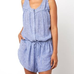 Rails Striped Lynn Linen Romper Size Small